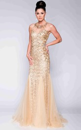 Trumpet Sleeveless Sequined Prom Dress With Jeweled Neck