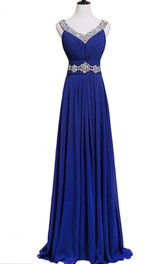 Sleeveless Sequined Long Pleated Chiffon Dress