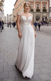 Cap Sleeve Illusion Back Sexy Plunging Plus Size Wedding Dress With Keyhole Corset