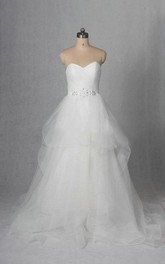 Sleeveless Sweetheart A-Line Tulle Dress With Beading