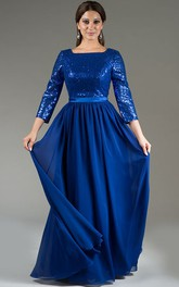 Square Neck 3-4 Sleeve Sequin Top Chiffon Long Mother Of The Bride Dress With Satin Sash