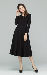 Black Cutout Long Sleeve A-Line Midi Dress with Front Slit