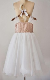 Strapped Tulle Dress With Sequins&Flower