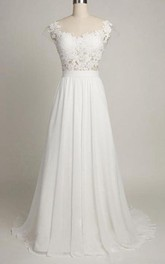 A-Line Tea-Length Sweetheart Cap Sweep Train Backless Chiffon Lace Dress
