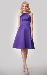 A-Line Satin Knee Length Dress With Keyhole Back and Ruching