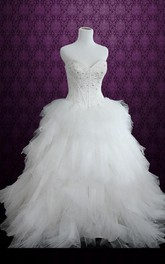 Ball Gown Strapped Tulle Dress With Embroideries Ruffles