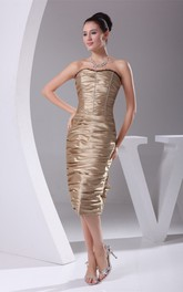 Strapless Knee-Length Dress with Overall Ruched Design