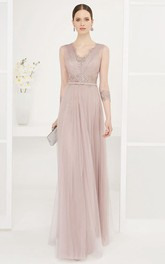 Sheath Sleeveless Beaded Floor-Length V-Neck Tulle Prom Dress