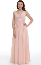 A-line Long V-neck Chiffon&Satin Dress With Ruffles