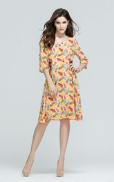 Printed Surplice Neck Long Sleeve Knee Length Dress