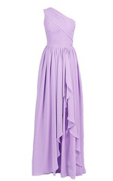One-shoulder Ruched Chiffon A-line Dress With Drapping