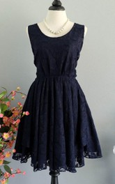 Dark Navy Lace Backless Dress