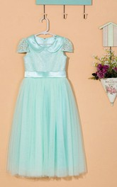 Cap Sleeveless Pleated Tulle&Lace Dress With Flower