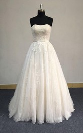 Strapless A-Line Tulle Wedding Dress With Lace Bodice