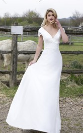 Plunging V-neck Satin Wedding Dress With Appliques And Floral Cap Sleeves