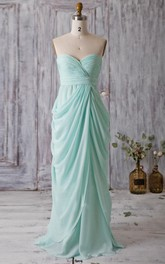 Backless Sweetheart Draped A-line Chiffon Long Dress With Bandage