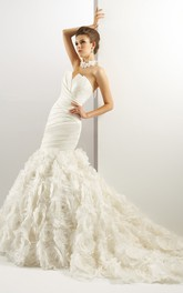 Strapless V-cut Trumpet Gown with Flowers and Ruching