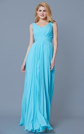 Empire Pleated Long Bridesmaid Dress