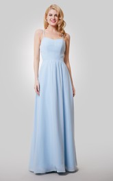 A-Line Chiffon Floor Length Dress With Spaghetti Straps and Keyhole Back