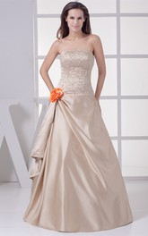 Strapless Side Draping A-Line Bodice Gown with Flower and Beading Embellishment