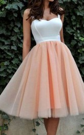 A-line Ball Gown Straps Sleeveless Pleats Tea-length Satin Organza Homecoming Dress