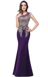 Stunning Sleeveless Satin Mermaid Lace Appliqued Dress