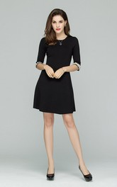 Black Scoop A-Line Dress with Pearls