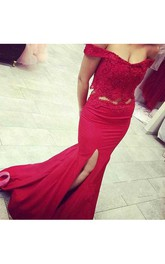 Off Shoulder Two Pieces Mermaid Evening Prom Dress