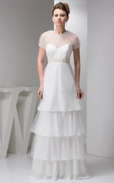 Short-Sleeve Tulle Tiered A-Line Dress with Illusion and Beaded Waist