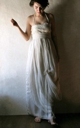 Haltered Pick Up Draped Floor-Length Dress With Lace