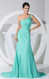 Chiffon Ruched Beaded Dress with Keyhole and Single Strap