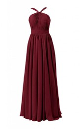 Sleeveless A-line Chiffon Gown With Pleats