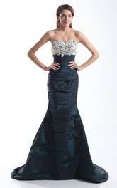 Strapless Mermaid Gown with Lace Top and Ruching