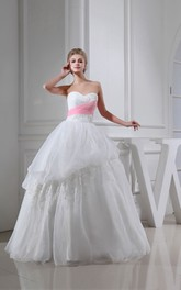 Sweetheart Ruched A-Line Ball Gown With Appliques With Beading