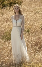 3/4 Sleeve Chiffon Elegant Wedding Dress With Lace Top And Keyhole Back