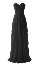 Sweetheart Long Chiffon Gown With Pleats