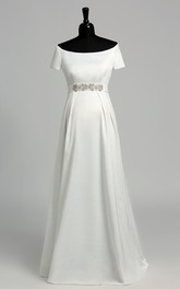 Graceful Off-the-shoulder A-line Beaded Satin Maternity Wedding Dress
