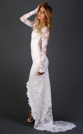 Long Sleeve Chapel Train Lace Dress With Appliques Flower