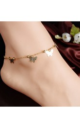 Western Style Small Bells Butterfly Love Anklet Letters Anklet
