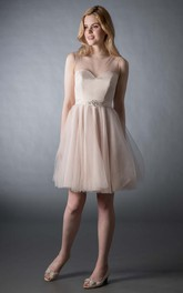 Short A-Line V-Neck Jeweled Sleeveless Tulle Bridesmaid Dress
