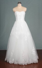 Ball Gown Sweetheart Tulle Lace Dress With Sequins And Appliques