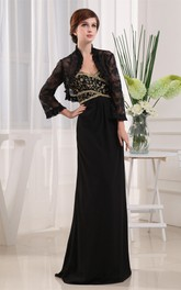 Strapless Ruched Chiffon Maxi Dress with Beading and Bolero