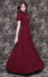 Elegant Burgundy Floor-length Dress
