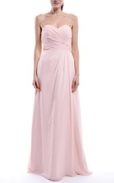 Pink Long Sweetheart Chiffon Dress