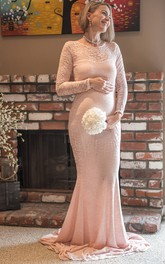 Long Sleeve Jewel Neck Sheath Lace Maternity Dress
