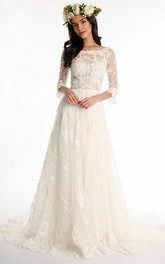 Bateau Long Half Sleeve Lace Wedding Dress With Sweep Train And V Back