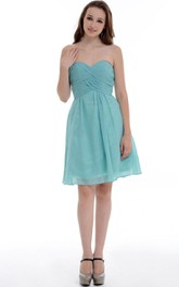 A-line Short Sweetheart Chiffon Dress