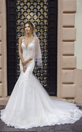 Mermaid Sleeveless Elegant Sexy Plunging Lace Wedding Dress With Cathedral Train