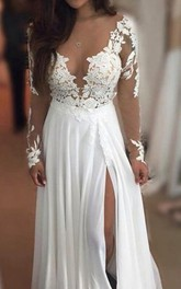 Long Sleeve Lace Beach See Through Chiffon Dress