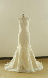 Queen Anne Cap Sleeve Keyhole Back Sheath Long Lace Wedding Dress